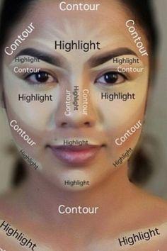 makeup, contour, and highlights image