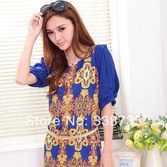 Shipping Real Time-limited Long Women Spring 2014 Blouse Brand Design Printed Medium-long Shirt Ol Style Silky Cool Summer M-xxl $17.80