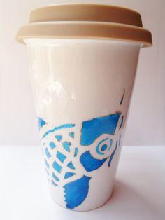 66edaad5710 Items similar to Ceramic Travel Mug, Bright Cobalt Blue Koi Fish Hand  Painted, Chic, Made in Hawaii on Etsy