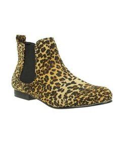 Leopard Double Gusset Chelsea Boots, Debenhams