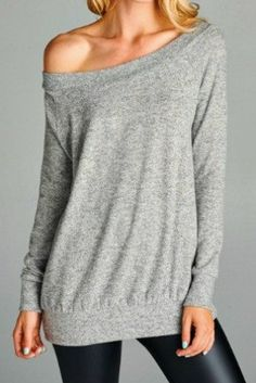 Pullover off the shoulder sweatshirt in super soft brushed jersey. Longer tunic style. Can be worn on or off one shoulder. Style tip: Wear with denim and booties for a casual look. Wear with leather l