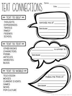 Free digital and pdf download! Text connections graphic organizer with built-in sentence frames.