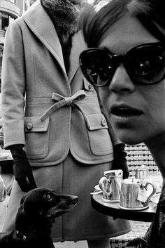"""Frank Horvat. """"Haute Couture at Café de Flore"""". 1962. Paris, France. (Harper's Bazaar)."""