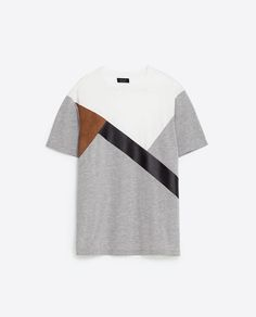 Image 6 of PATCHWORK T-SHIRT from Zara Polo T Shirts, Cut Shirts, Funky Shirts, Mens Designer Shirts, Casual Wear For Men, Mens Tees, Shirt Designs, Menswear, Badminton