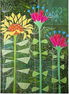 1950's Flowers art quilt by Gillian Travis (UK)