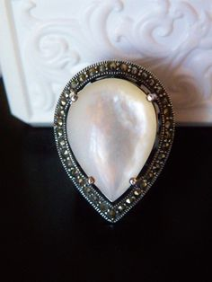 QVC Suspicion Sterling Silver 925 BIG Mother of Pearl Marcasite STATEMENT Ring  #Suspicion #Cocktail