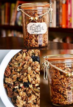 Salty Olive Oil Granola 24 Delicious Food Gifts That Will Make Everyone Love You Homemade Food Gifts, Diy Food Gifts, Edible Gifts, Jar Gifts, Gift Jars, Christmas Food Gifts, Handmade Christmas, Diy Christmas, Holiday