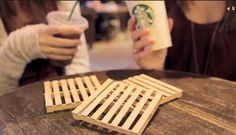DIY mini pallet coasters. Too cute and made from popsicle sticks! So easy. Video tutorial by TheSorryGirls