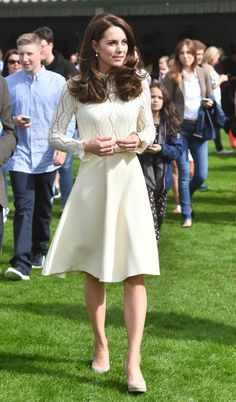 Kate Middleton Photos Photos - Catherine, Duchess of Cambridge is seen as they host a tea party in the grounds of Buckingham Palace to honour the children of those who have died serving in the armed forces on May 13, 2017 in London, England. - Party at the Palace