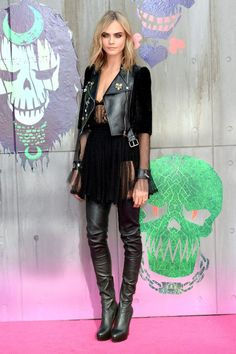 Cara Delevingne in Alexander McQueen at the Suicide Squad premiere …