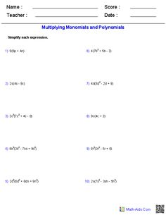 Adding and Subtracting Polynomials Worksheets   Math-Aids.Com ...