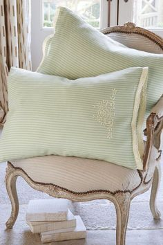 Ticking Stripe Pillowcase Pair - Lace Trim Pillowcase, Embroidered Pillowcase | Soft Surroundings