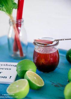Rabarbersirup med vanilje og lime, www.bydianawi.com