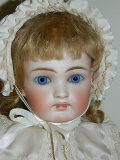 """19 1 2"""" 50 cm Sonneberg Bisque Head Doll with Closed Mouth Early Jointed Body 
