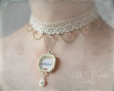 ADORE OOAK Shabby Chic Ivory Pendant Lace Necklace by oddprincess, $28.00