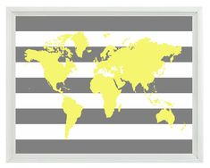 World Map Wall Art Print 11x14 - Yellow Gray Stripe Decor Nursery Children Kid Room - Wall Art Home Decor on Etsy, $22.00