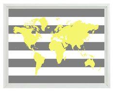 World Map Wall Art Print 11x14 - Yellow Gray Stripe Decor Nursery Children Kid Room - Wall Art Home Decor on Etsy, $22.00