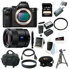 Sony Alpha a7II ILCE-7M2/B Interchangeable Digital Lens Camera (Body Only) and Sony Sonnar T FE 55mm F1.8 ZA Full-frame E-mount Prime Lens, with Sony 64GB SDXC Card, Sony VCT-R100 Tripod, 2 Replacement NP-FW50 Batteries and Charger, Focus DSLR Camera Case and Deluxe Accessory Bundle. World's first 5-axis in-body image stabilization in a full-frame camera. Use your favorite lenses without blur from camera shake. Capture stunning images with full-frame, 24.3MP resolution. Fast hybrid AF…