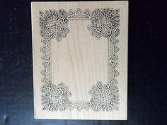 Mounted Rubber Stamp Large Rectangle Frame Wood Crafting Peddler's Pack #PeddlersPackStampworks #Frame