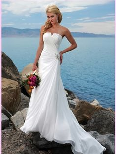 White Column Strapless Beading Chiffon Beach Wedding Dress AWD300113