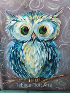 Cute blue fluffy owl, beginner painting idea. Rebeca Flott Arts.