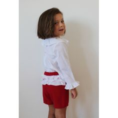 Red short with 3 white ruffles