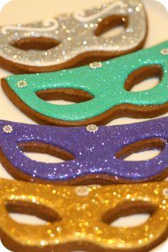 Glittery Mardi Gras Mask Cookies
