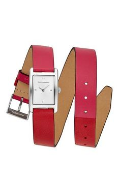 5825655b774 Moment Silver Tone Pink And Red Leather Watch
