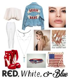 """4th of July."" by musaddika on Polyvore featuring Jimmy Choo, Topshop, TWIG & ARROW, redwhiteandblue and july4th"