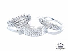 10K WHITE GOLD ROUND DIAMOND ENGAGEMENT RING & HIS HER BAND TRIO RING SET 2.20CT #beijojewels