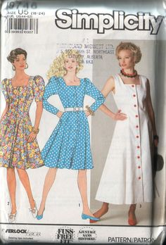Simplicity 9746, vintage 1990 dress pattern UNCUT, womens sizes 16-24, bust 38-46 FREE SHIPPING to canada and usa
