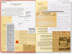 FLW's Guggenheim - collaged items relating to the making of the building (extract from recently designed book).