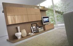 brown natural looks: modern contemporary wall panel for multimedia entertainment - Laltrogiorno living room layout