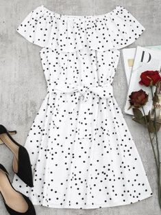 Off Shoulder Overlap Polka Dot Mini Dress - White - S Girls Fashion Clothes, Summer Fashion Outfits, Women's Fashion Dresses, Casual Dresses, Girl Fashion, Short Dresses, Casual Outfits, Dresses Dresses, Trendy Fashion