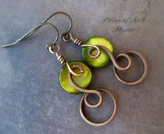 olive green mother of pearl and copper earrings / Boho / Wire wrapped jewelry by PillarOfSaltStudio