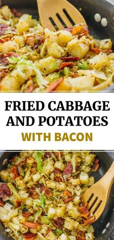 This is a really easy fried cabbage and potatoes recipe with crispy bacon. Only six ingredients and one pan needed. Side Dish Recipes, Vegetable Recipes, Vegetarian Recipes, Cooking Recipes, Healthy Recipes, Good Easy Recipes, Easy Potato Recipes, Cod Recipes, Entree Recipes