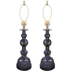 Elegant Pair of Large-Scale Metal Table Lamps | From a unique collection of antique and modern table lamps at https://www.1stdibs.com/furniture/lighting/table-lamps/