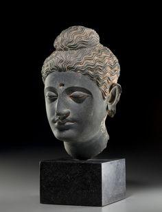 A carved schist head of Buddha Ancient region of Gandhara, century Buddha Sculpture, Buddha Statues, Buddha Figures, Southeast Asian Arts, Buddha Zen, British Museum, Art And Architecture, Sculptures, Carving