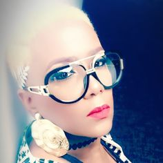 Colored hair, eyewear, boy cut, fade it, MUA