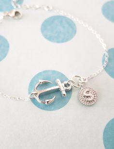 Personalised Silver Anchor and Letter bracelet - STERLING SILVER bracelet with Anchor, silver initial, best friends, sisters, mum, www.glitzandlove.com