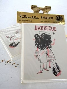 20 vintage barbecue invitations cards