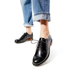 Presley Black Oxford – The Office of Angela Scott Black Oxfords, Welcome To The Family, Liner Socks, Goodyear Welt, Store Hours, Leather Heels, Women Empowerment, Oxford Shoes, Footwear