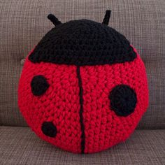 CROCHET LADYBUG PILLOW....to purchase only...no pattern.....looks easy enough to figure out