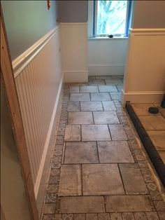 DURING: Mosaic tile border for the floor, and the first coat of grey paint on the walls. Grey Paint, Mosaic Tiles, Laundry Room, Tile Floor, Walls, Flooring, Coat, Painting, Mosaic Pieces