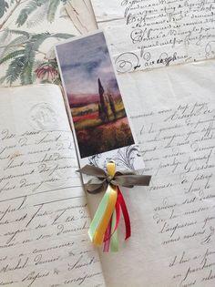 """Une de mes illustrations """"paysage de Toscane"""" imprimé pour un marque-page"""