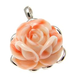 "Brand new genuine natural pink coral (not treated, not enhanced) carved flower set in solid 14k white gold (not plated, not bonded) pendant enhancer - Pendant size: 28.20mm (approx. 1 1/8"") wide and 3"