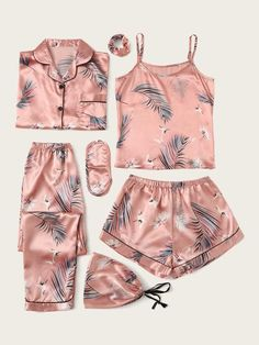 Check out this Crane & Tropical Print Satin Pyjama Set on Shein and explore more to meet your fashion needs! Cute Pajama Sets, Cute Pjs, Cute Pajamas, Pyjama Sets, Cute Sleepwear, Sleepwear Women, Loungewear, Cute Lazy Outfits, Girl Outfits