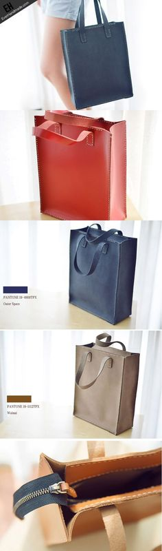 Handmade Leather tote handbag bag vintage purse women leather zip