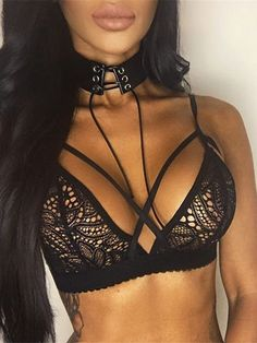 Black Sexy Lace Details No Falsies Lingerie Set from mobile - US$19.95 -YOINS