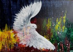 Le fantôme de la paix ou La fuite - acrylique sur toile 50X70 cm - : Peintures par clau-mandarine